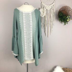 Soft green medium bell sleeve blouse lace trim
